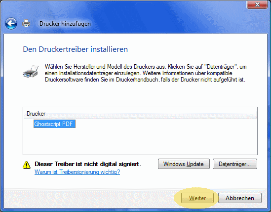 Abschluss Druckerinstallation
